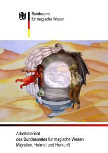 Das Coverbild zeigt ein geflügeltes Portal zu unserer Erde, das auf einem Podest im Wüstensand steht. Eine Faunin und eine Dschinna fliegen darauf zu.