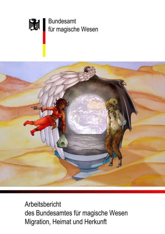 Das Coverbild zeigt ein geflügeltes Portal zu unserer Erde, das auf einem Podest im Wüstensand steht. Eine Dschinna fliegt darauf zu. Ein Faun steht daneben.