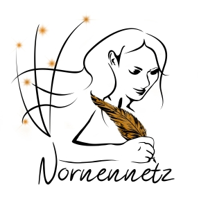 """Frau mit goldener Schreibfeder und glitzernden Spinnweben, darunter der Schriftzug """"Nornennetz"""""""