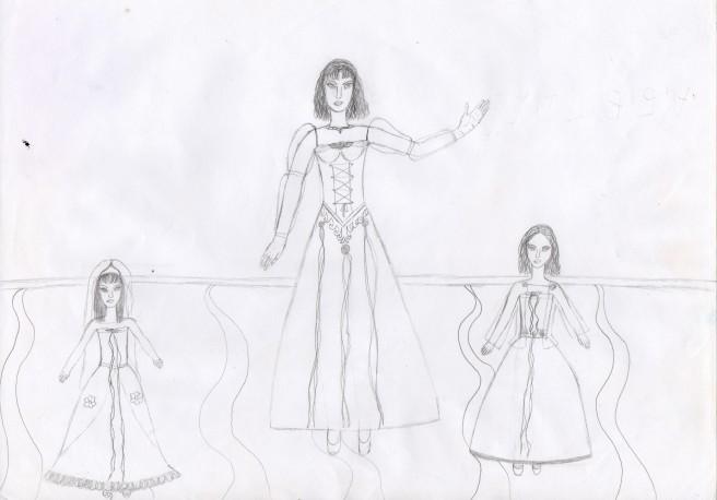 Uralte Zeichnung Familienbild
