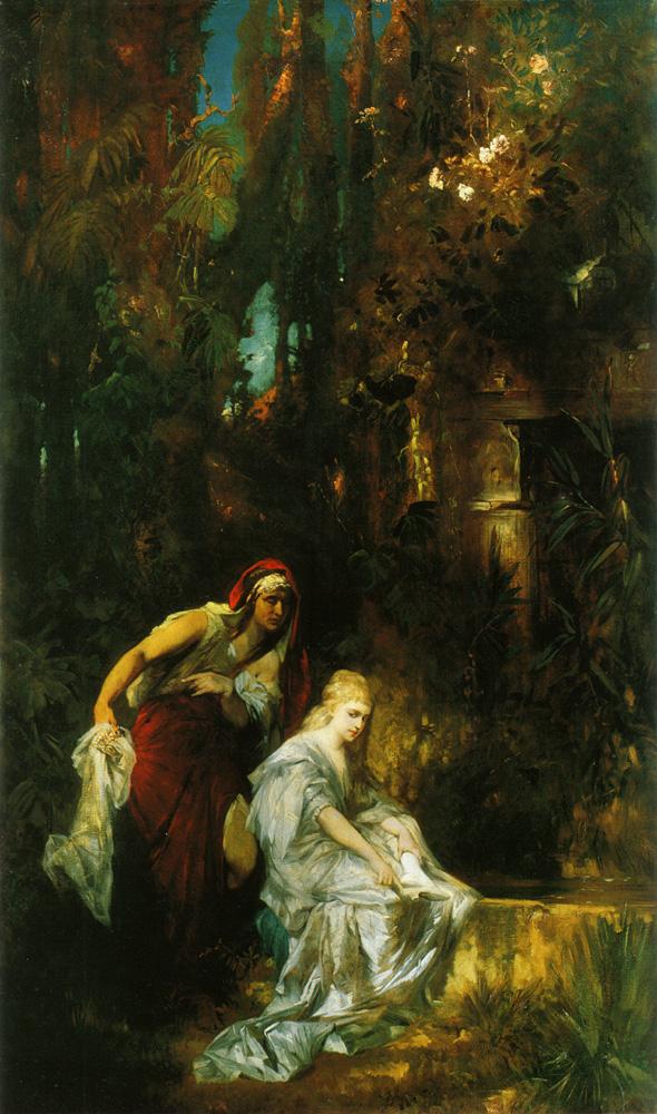 """Hans Makarts Gemälde """"Schneewittchen erhält den Giftkamm"""" - besonders auffällig ist hier das blonde Schneewittchen, der Hintergrund ist diffus und schlecht zu erkennen."""